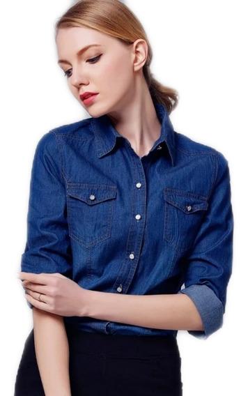 Camisa Mujer De Jean Super Elastizadas Denim Premium Import