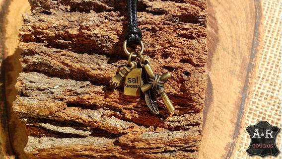 Colar Amuleto Da Sorte Proteção Figa, Cruz, Ramo, Sal Grosso