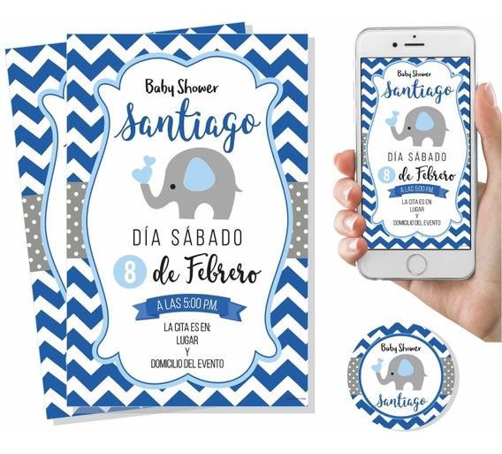 Invitación Digital Imprimible Baby Shower Elefante Niño