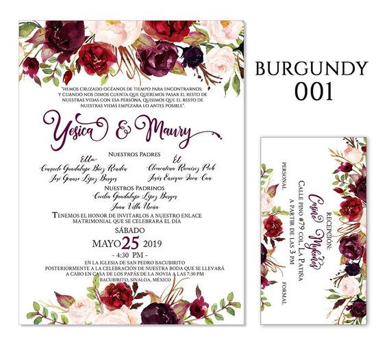 25 Invitaciones - Florales Burgundy - Bodas, Xv Años, Etc.