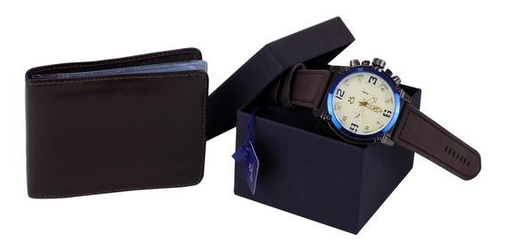Kit Relógios Masculino Original Couro + Carteira C/ Nf-e