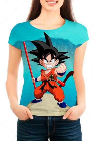 Camiseta Babylook Feminina Dragon Ball Z Goten - Mn01
