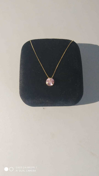 Corrente Fio Ouro/ Pingo De Luz Rosa