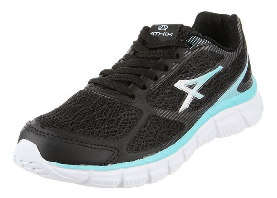 Athix Zapatillas Running Mujer Top Negro - Verde Agua