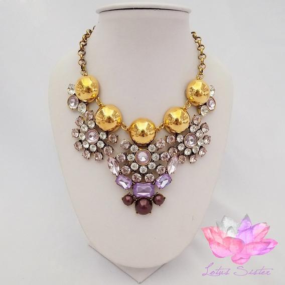 Collar De Dama Con Cristales Dorados De Resina (pz)