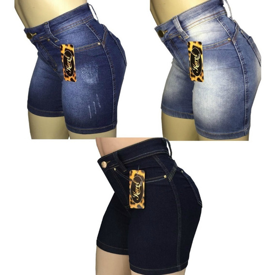 Bermuda Jeans Feminina Meia Coxa Cintura Alta Kit Com 3