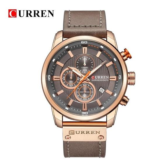 Relógio Masculino Curren 8291 Funcional Couro Cronógrafo