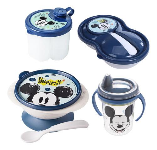 Imagem 1 de 5 de Kit Baby Mickey Tigela Ventosa Dosador Pote Papinha Caneca