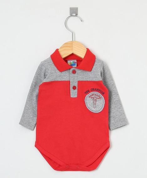 Body Manga Longa Bebê Menino Vermelho E Cinza Gola Polo