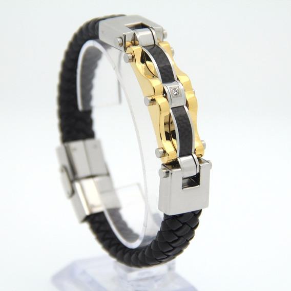 Pulseira Bracelete Masculina Couro Banhada Ouro 18k Luxuosa