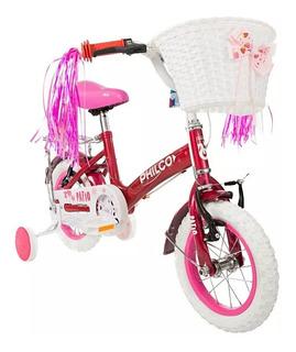 Bicicleta Philco R12 Nena Rueditas Canasto Rosa