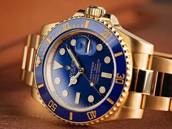 Relógio Submariner Dourado Unissex