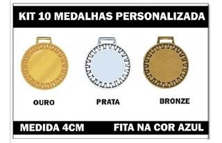 Kit 10 Medalhas 4cm Personalizadas Premiação 3347