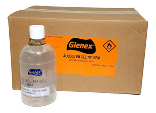 Álcool Em Gel 70 Inpm Gienex 400g Anvisa Caixa C/12 Unidades