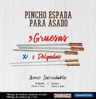 3 Espadas / Pincho Gruesas + 2 Delgadas Para Asado De 75cm Tramontina (pz)