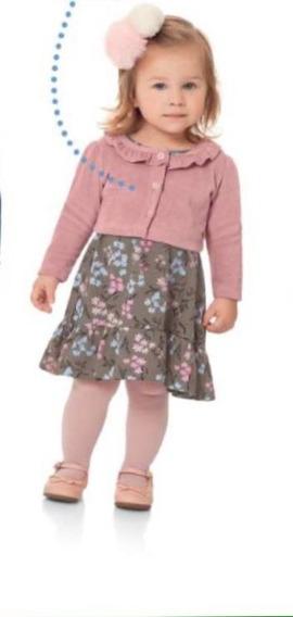 Vestido Bebe Infantil Com Bolero Princesa Caqui E Rosa Flores Tamanhos P, M E G(bebe)