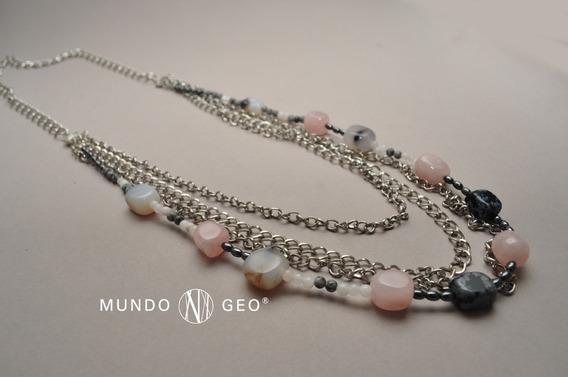 Collar De Cuarzo Rosa, Hematite, Obsidiana Nevada Y Ágata