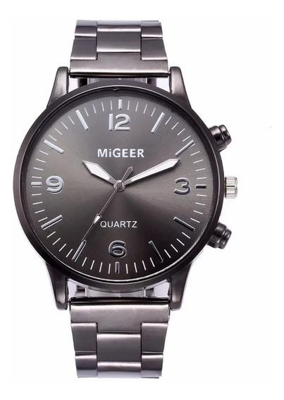 Relógio Masculino Importado Quartz Executivo Elegante Migeer Preto Promoção Envio Imediato
