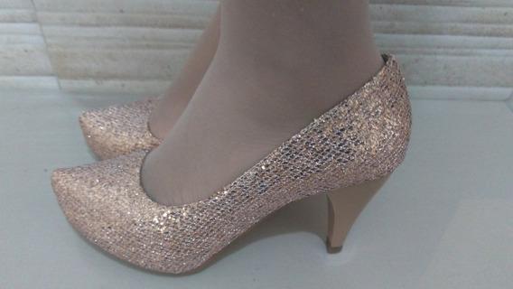 Sapato Noiva Dourado Salto 8 Cm