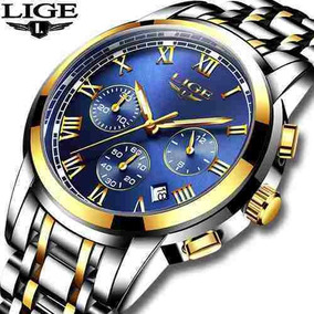 Relógio Masculino Lige 9810 Cronógrafo Luxuoso Original Top