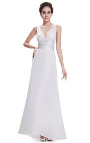 Vestido Blanco Novia Fiesta Satin Largo
