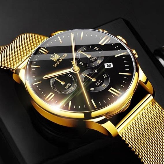Relógio De Ouro Pulseira De Malha De Aço Ino