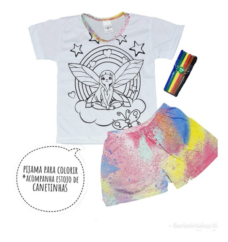 Pijama Infantil De Colorir Canetinha Presente Para Menina