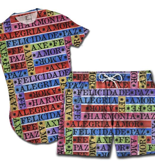 Kit Bermuda Praia + Camiseta Longline Promoção Top Mod-3