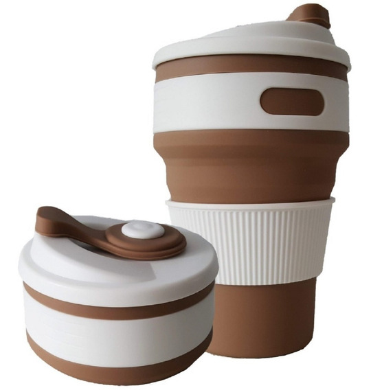 Copo Silicone Retrátil Dobrável Térmico Chá Café Bolsa 350ml