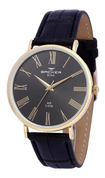 Relógio De Couro Masculino Backer - 10808142 - Promoção + Nf