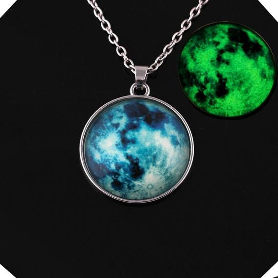 20 Pz Mayoreo Collar Luna Llena Brilla Oscuridad Luz Verde