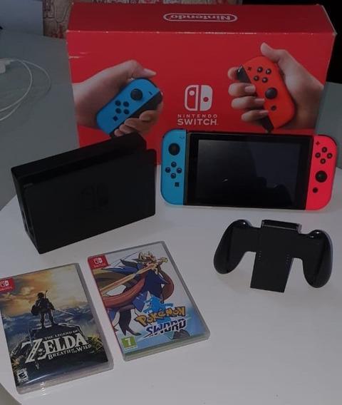 Nintendo New Switch Neon Colorido Modelo Novo + Dois Jogos