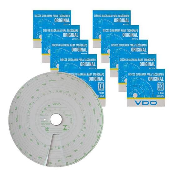 Disco Tacógrafo 7 Dias / 180 Km (semanal) Vdo Kit Com 10 Cx