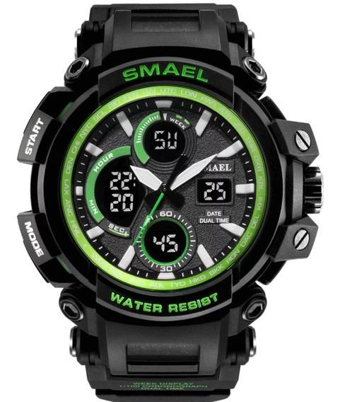 Relógio Masculino Smael Militar 1708 5atm Preto Verde Barato