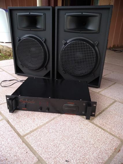 Amplificador Cignus Sa1 + 2 Caixas Passivas 12 -150w