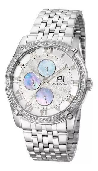 Relógio Feminino Ana Hickmann Aço Prateado Original Ah30308q