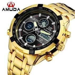 Relógio Amuda Am2002 Dourado Anadigi Masculino Frete Grátis