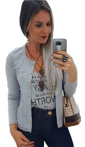 Blusinha Basica Com Botões Linda Manga Longa Cardigan Blazer