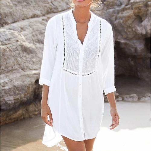 Imagen 1 de 2 de Salida De Baño Blanca Corta Con Botones  Para Verano Y Playa