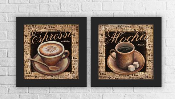Conjunto 2 Quadros Decorativos Café Expresso Cozinha C Vidro