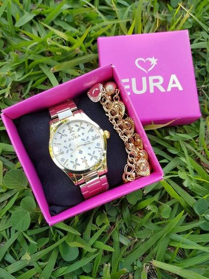 5 Relógios Femininos Com 5 Relógios C/pulseira E Caixinha