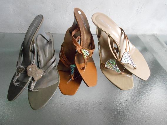 Lote Com 12 Sandalias Salto Baixo