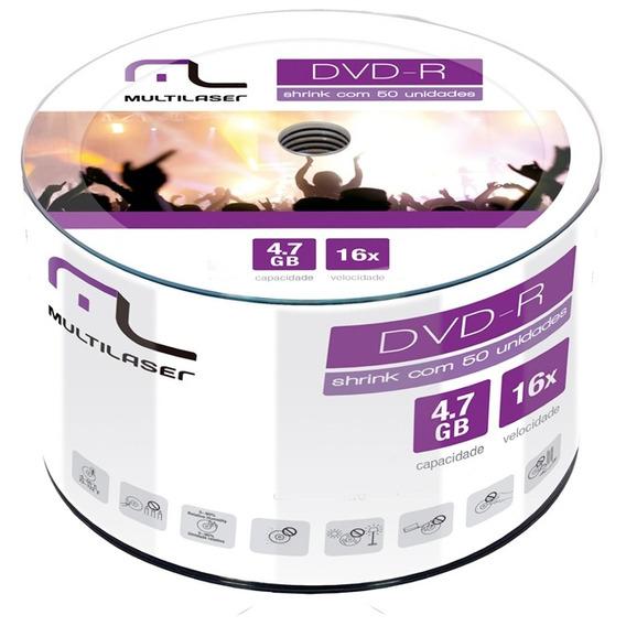 Dvd-r 4.7gb 16x 50 Unidades Lacrado Dvd50shrink Multilaser