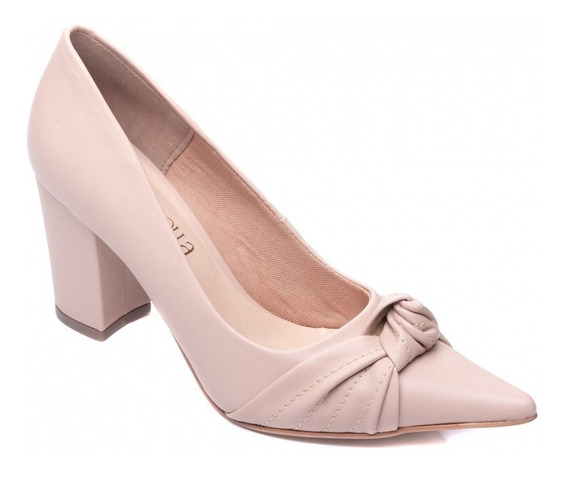 Sapato Scarpin Feminino Salto Quadrado Com Nó De Luxo