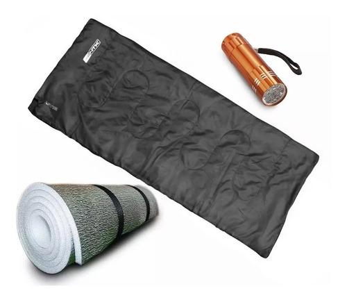 Imagen 1 de 10 de Combo Bolsa Dormir Termica 8c° + Aislante + Linterna Led