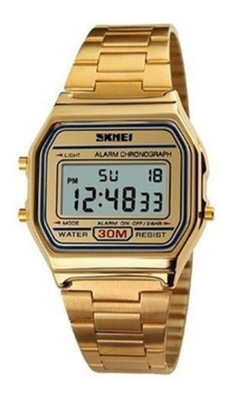 Relógio Feminino Skmei Digital Unissex Garantia Dourado