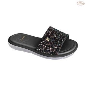 Pampili Chinelo Slide Glitter Preto 25 Ao 32