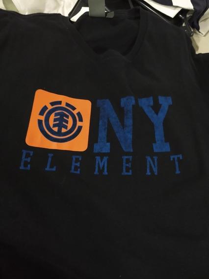 Remera Element Usada Talle L.negra Con Estampa