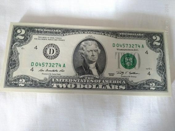 Nota 2 Dólares Estados Unidos Fe Nova Ano 2009