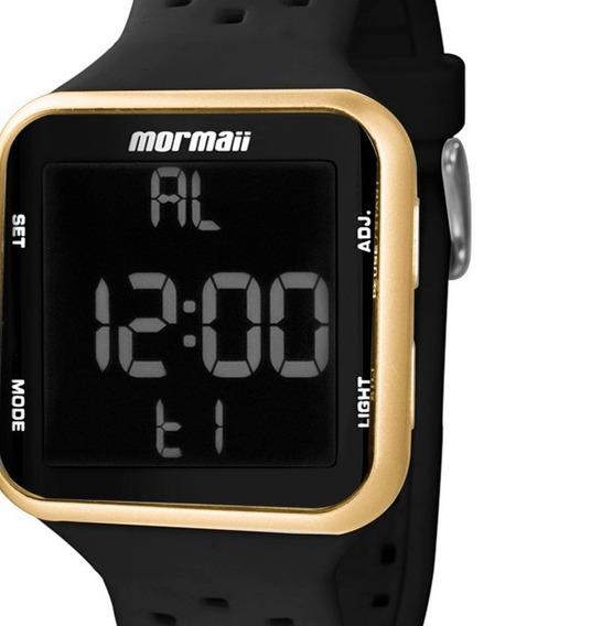 Relógio Digital Feminino Pulseira De Silicone Preto Dourado Mormaii Mo6600/8d Original C/ Garantia Promoção